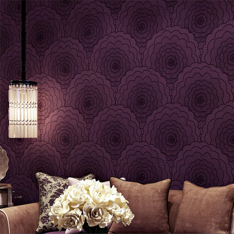 beibehang wallpaper modern simple bedroom living room TV background papel de parede large flower non - woven wall paper beibehang 3d wallpaper modern simple wall paper roll non woven wallpaper living room purple white lattice papel de parede listra