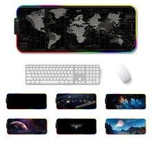 Grand LED RGB tapis de souris de jeu Overwatch xxl tapis de clavier de bureau USB éclairage ordinateur tapis de souris carte du monde Gamer pour LOL Dota