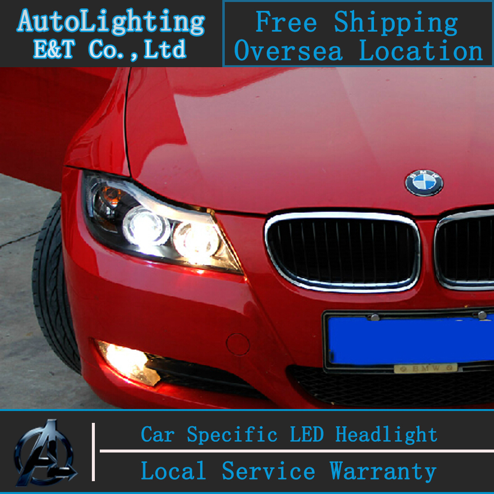 Car Styling LED Head Lamp for BMW E90 Headlight assembly 318 320 325 LED Headlight angel eye headlight h7  with hid kit 2pcs. car styling head lamp for bmw e84 x1 led headlight assembly 2009 2014 e84 led drl h7 with hid kit 2 pcs