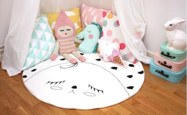 95 см детская игра коврики круглый коврик, мат хлопок Лебедь Ползания одеяло пол ковер для детской комнаты украшения INS подарки для малышей - Цвет: Smiley 95cm