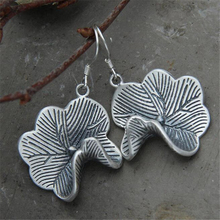 Black Silver Lotus Leaf Drop Dangle Earrings Ethnic 925 Sterling Fashion Jewelry For Women Girls Party Christmas Gift