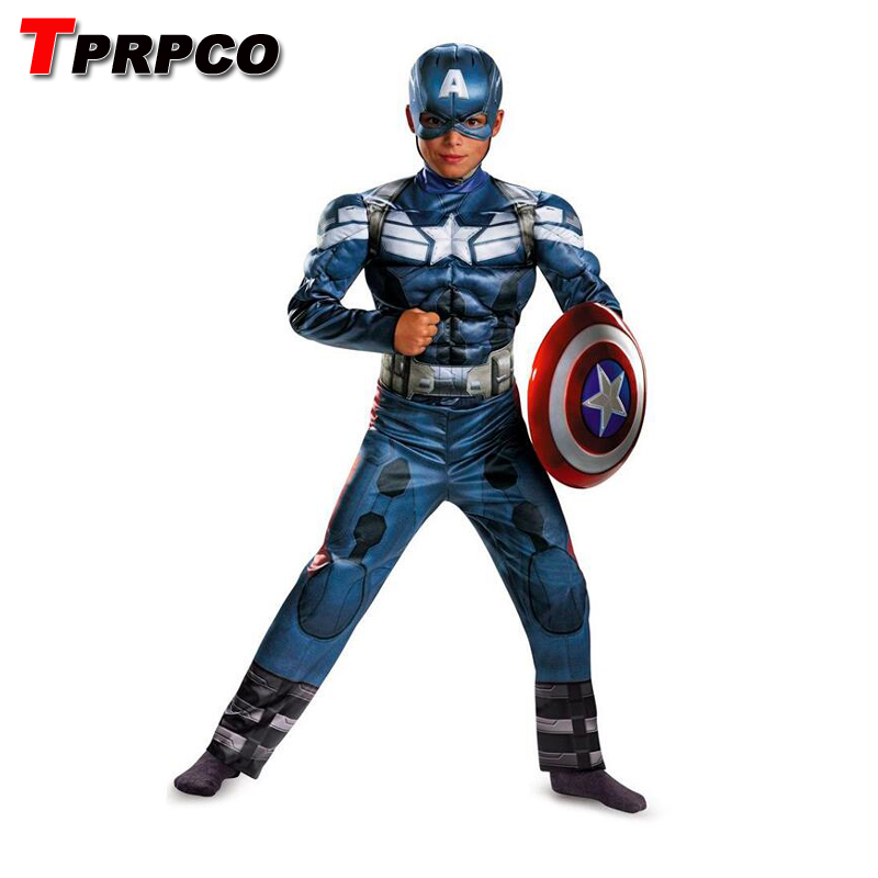 TPRPCO  The Winter Soldier Costume Children Boys Captain America Movie 2 Classic Muscle Halloween Cosplay Costume NL1621
