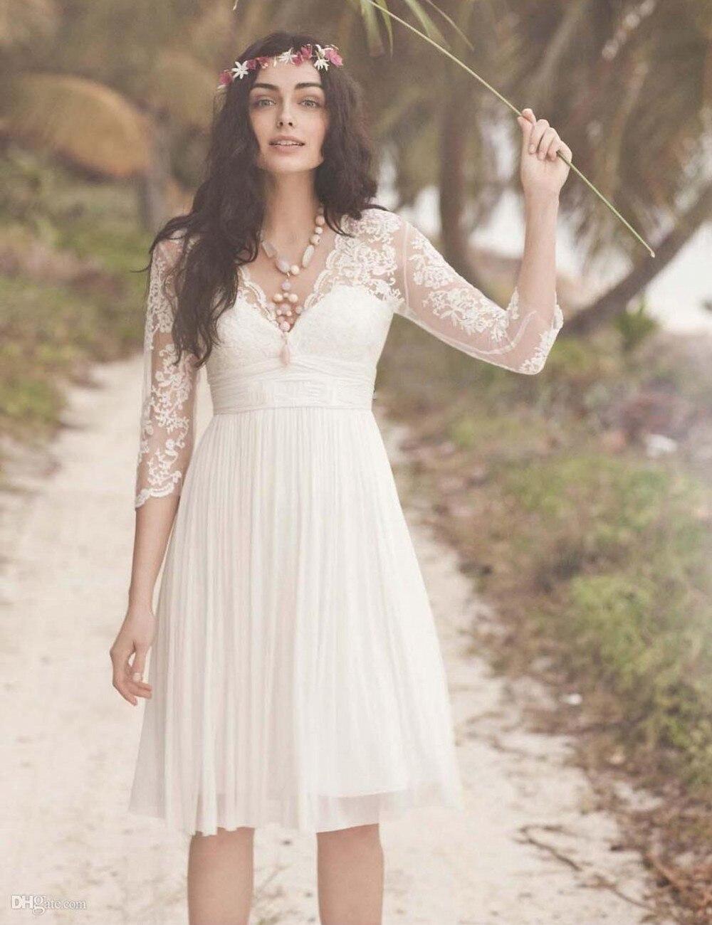 2016 V neck Lace Short Knee Length Bohemian Bridal Wedding Dresses ...