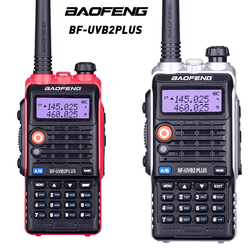 TOP Quality BaoFeng Bf-Uvb2 Plus Walkie Talkie High Power 8w LCD Display/LED Light 4800mah Battery Radio Function With Headset