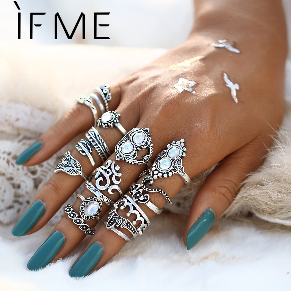 If Me 16pcsset Vintage Rings Set Mixed Leaf Flower Crown Palm
