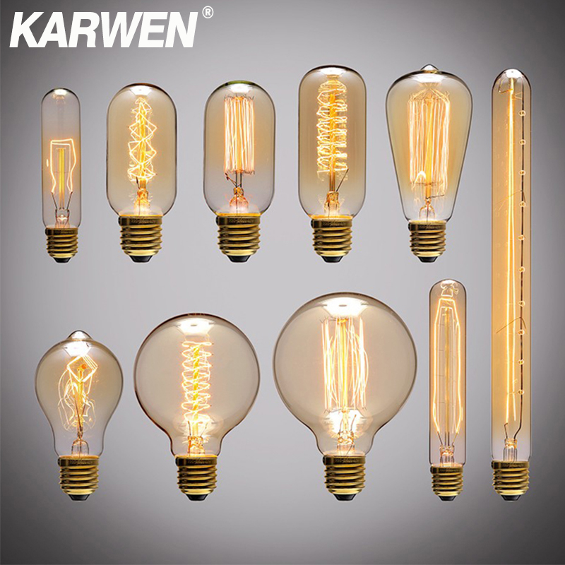 Edison Bulb E27 Incandescent Retro Lamp 40W 220V ST64 A19 T45 T10 G80 G95 Antique Vintage Bulb Edison Lamp Filament Light Bulb
