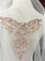 Oro rosa Delicato strass applique collare, in rilievo diamante applique, fusciacca nastro da sposa da sposa applique