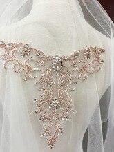Rose Gold Delicate rhinestone applique collar, beaded diamante , wedding sash bridal belt