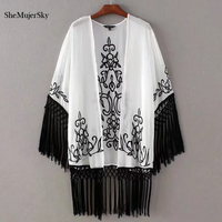 SheMujerSky Embroidery Long Kimono Cardigan Women Blouses Chemise Chiffon Blouse 2017 Shirt Summer White Tops Clothing
