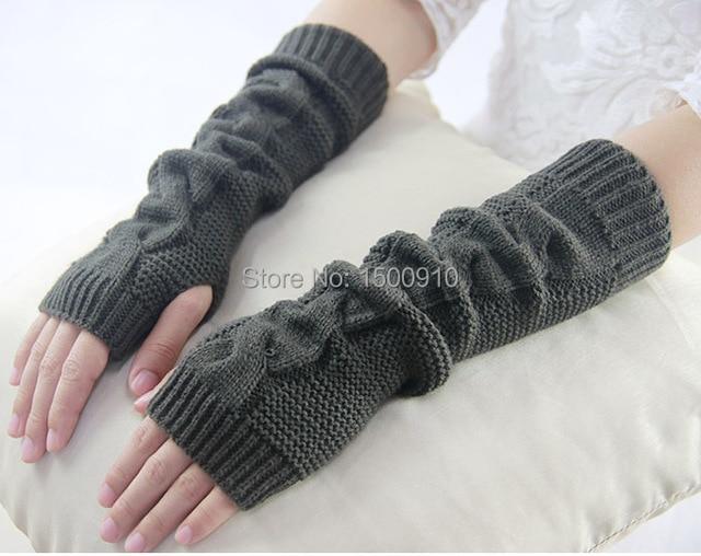 Acrílico verde guantes sin dedos sólido tejido a mano calentadores ...