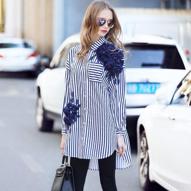 2018 мода полосатый Свободные Для женщин рубашка 3D Цветочные аппликации бриллиантами отложной воротник однобортный женские рубашки