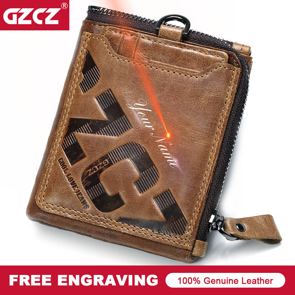 GZCZ Hot Genuine Leather Men Wallet Vintage Coin Purse Clutch Zipper Poucht Card Holder High Quality Mens Money Bag Portomonee