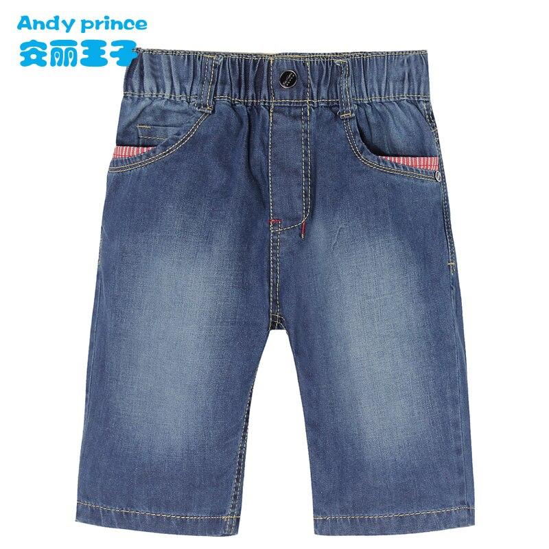Hot Summer Design Light Blue Kids Pants Boys Elegant Jeans 100% Cotton Capris Thin Child Cropped trouser for  Children
