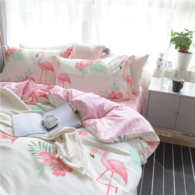 Ordinaire Sweet Pink Stripes Bed Sheets 100% Cotton Flamingo Bedding Sets For Adults  Queen King Size