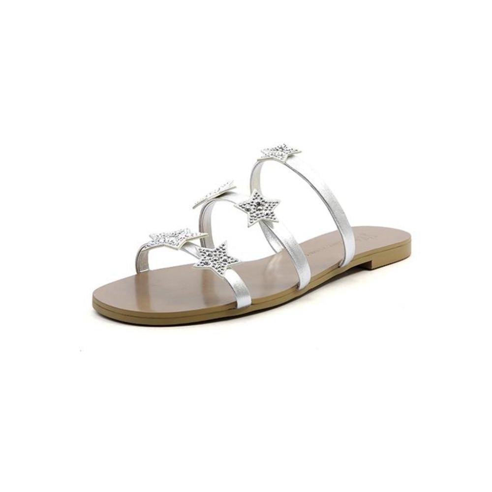 Chaussures Véritable De argent Lenkisen Pantoufle L38 Slip Cuir Sur Or Étoiles 2018 Couture Spécial Haute À L'extérieur Simple En Appliques Diapositives Femmes Casual WH2DE9I