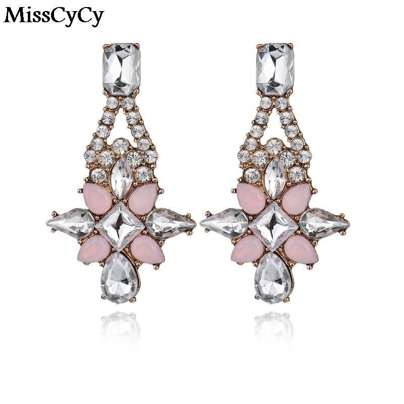 MissCyCy Kind Shooting Bohemia Brand Jewelry Glass Big Crystal Flowers Women Earrings For Girls Gift