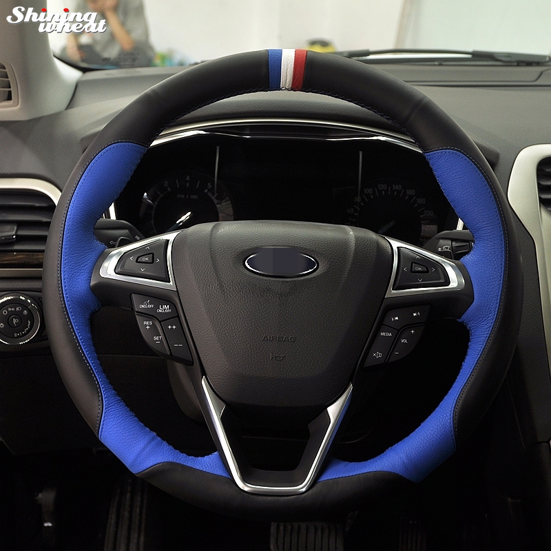 Shining Wheat Hand Sched Black Blue Leather Steering Wheel Cover For Ford Fusion New Mondeo 2017