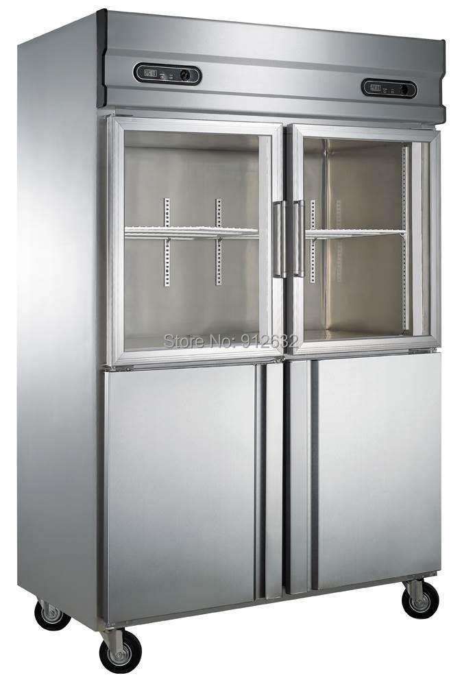 Commercial Vertical 2 Double Door Refrigerator Freezer Stainless Steel And Glass  Door Refrigerator Freezer In Freezers From Home Improvement On ...