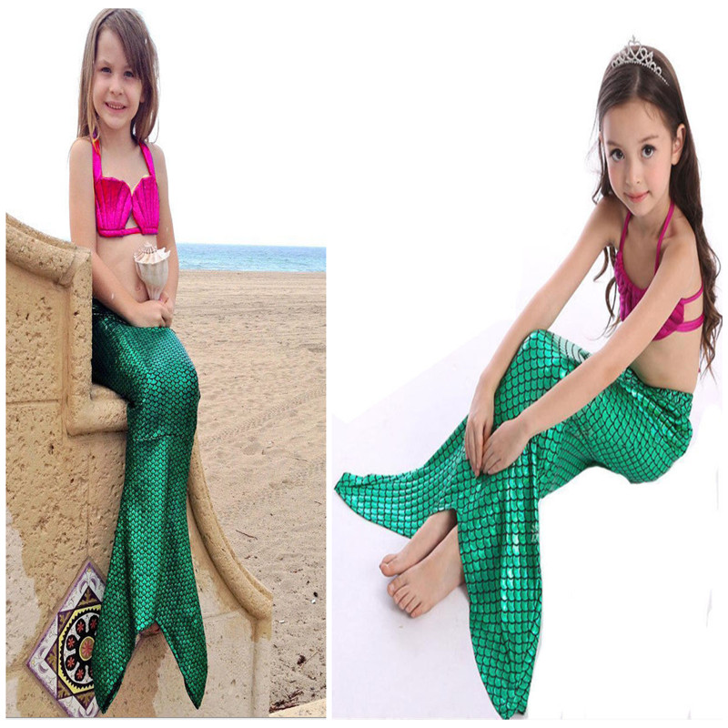 3 UNIDS Girl Kids Mermaid Tail Swimmable Bikini Set Traje de Baño Traje de Lujo 3-9Y Envío gratis