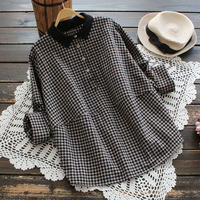 New Classic Women S Plaid Shirt Long Sleeve Roll Up Tops Leisure Lace Turn Down Collar