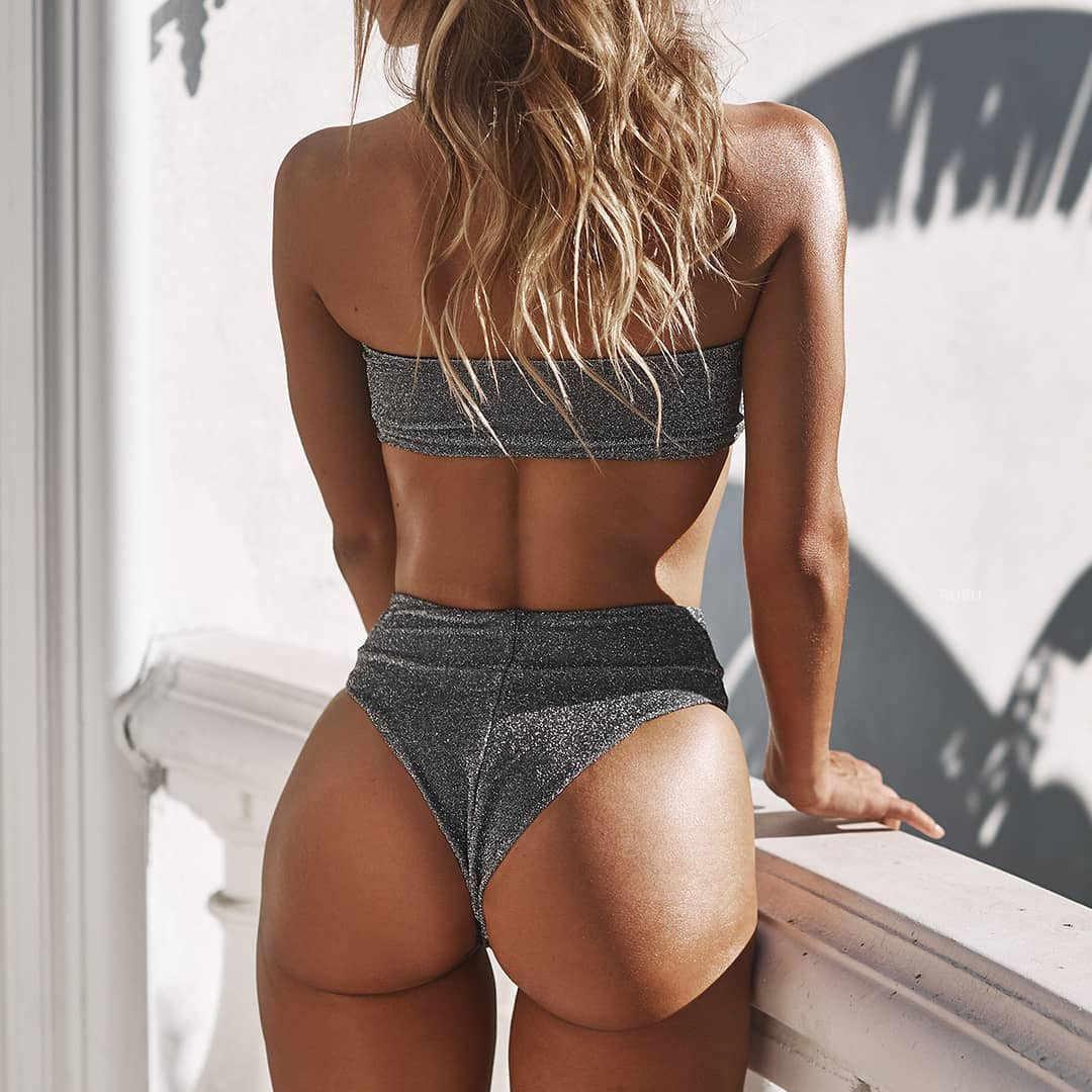 ccfc9c948916b Glitter Bikini 2019 Silver Sequin Bandeau Bikini High Cut Swimwear Women  Sexy Push Up Thong High
