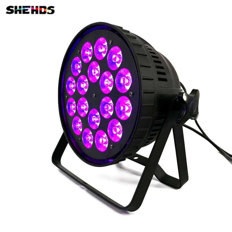 Aluminum alloy LED (Flat) Par 18x18W RGBWA+UV 6in1 LED Par Can Spotlight DJ projector Wash Stage Lighting Party lights DMX512 free shipping dj par cans rgbwa uv 6in1 18x18w led par light aluminum alloy shell par led disco dmx stage effect lights