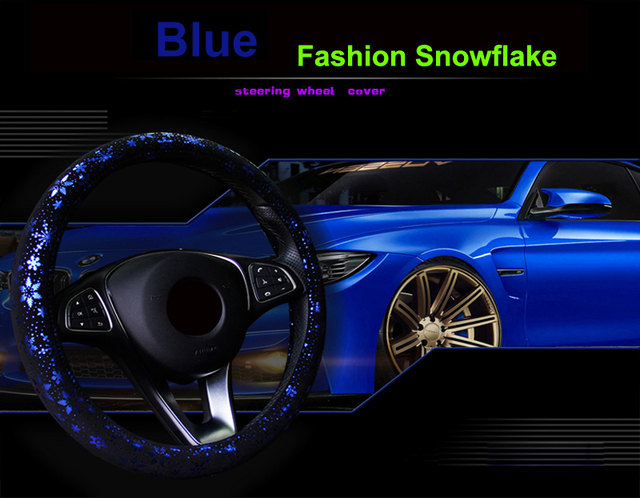 HuiER  Car Steering Wheel Cover Shiny Snowflake 4 Colors Anti-slip Cute For 37-38CM Car Styling Car Steering-Wheel Free Shipping