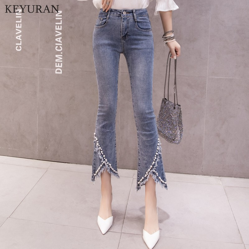 Plus Size Flare   Jeans   For Women Beaded Tassel High Waist Elastic Slim Denim Pants Ankle Length Femme Trousers Boyfriend L3201