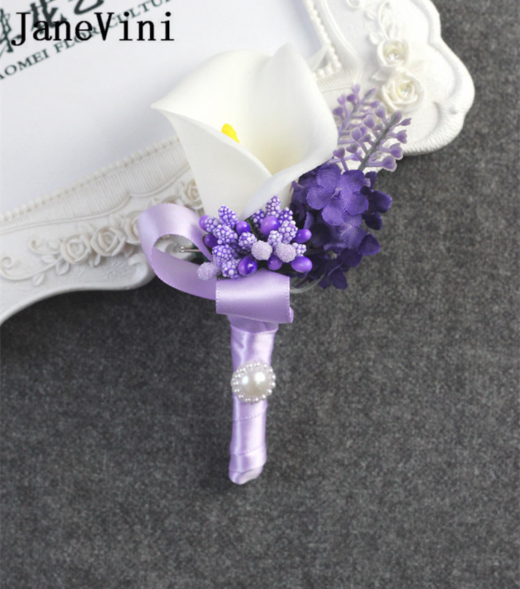 JaneVini White Calla Lily Wedding Bouquet Lavender Purple Artificial Flowers Bride Bouquets Ribbon Holder Bridal Boutonnieres in Wedding Bouquets from Weddings Events