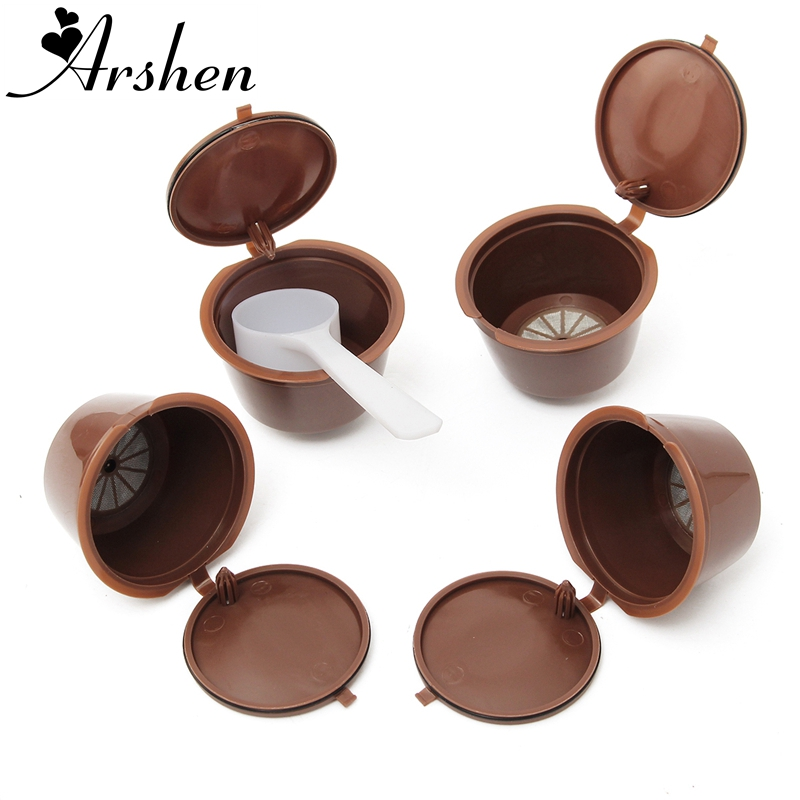 Arshen 4 Pcs/Set Dolce Gusto Coffee Capsule With Scoop Plsatic Refillable Coffee Capsule Reusable Compatible Nescafe Dolce Gusto
