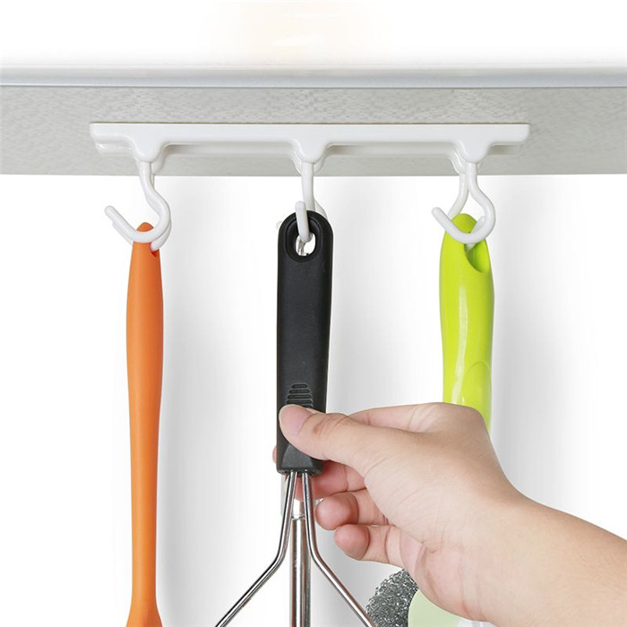 Wall Mounted Self Adhesive Up Wall Hook Kitchen cabinets ceiling hook with 6 hooks Desk Cupboards Hanging Rack
