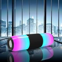 Portable Column colorful Waterproof LED Bluetooth Speaker Wireless Super Bass Mini Speaker with Flashing Lights FM Radio Music