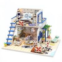 Blue Coast Beach Villa Model Dollhouse Miniature Furniture DIY Kit With LED Lights Wood Toy Dolls