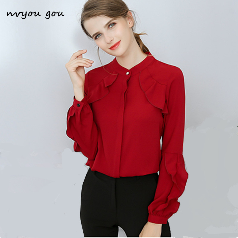 9bc337ad5a19d nvyou gou Women Long Sleeve Ruffles Chiffon Solid Blouse Slim Office Ladies  White Top Chemise Femme 2018 Autumn Spring Fashion