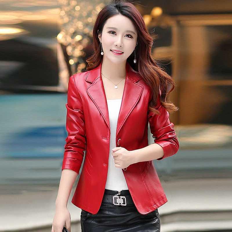 2018 Для женщин Весна из искусственной кожи пиджак с длинным рукавом Однобортный, женская верхняя одежда, джинсовая куртка корейские, высокого качества Повседневное пальто узкого кроя Y477