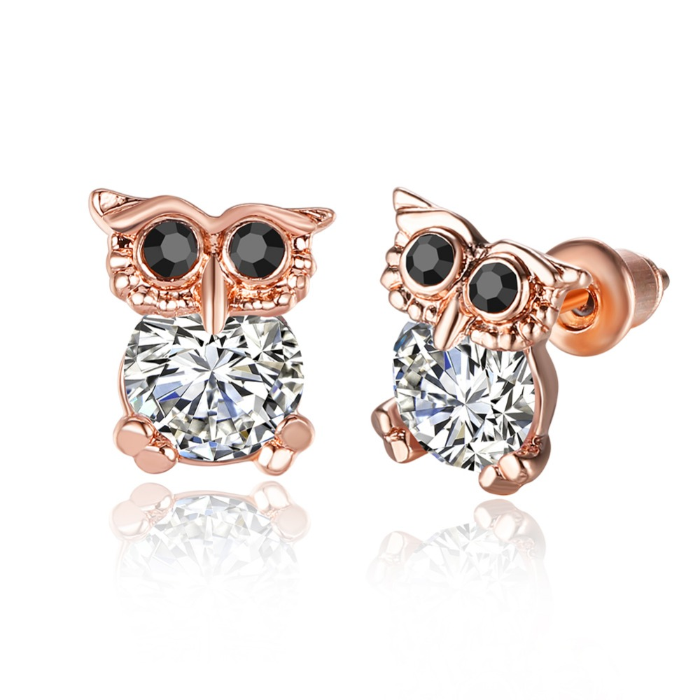 Us 3 63 48 Off Inalis Hot Cute Animal Earrings Rose Gold Plate Element Austrian Crystal Owl Earring Studs Jewelry Brinco Coruja In Stud