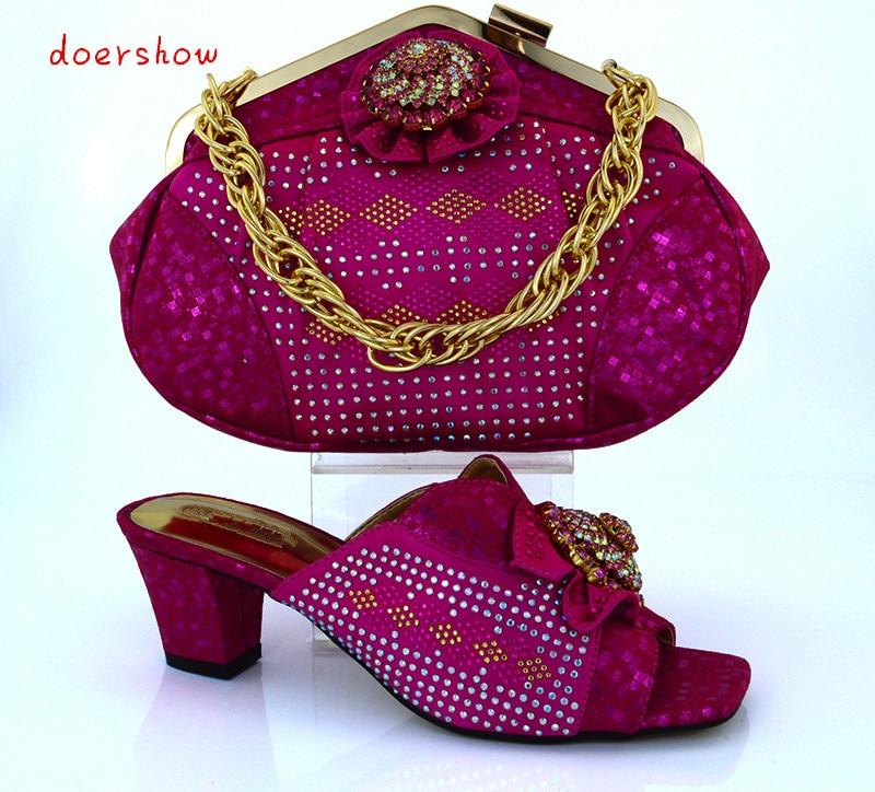 Doershow модные Итальянская обувь с Комплект с сумочкой в тон в африканском стиле Стиль женская обувь и сумки набор для нарядная одежда, Бесплат...