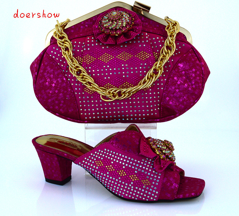 doershow Fashion Italian Shoes With Matching Bag Set African Style Women Shoes and Handbag Set For Party Free Shipping!!HVB1-42 doershow african shoes and bags fashion italian matching shoes and bag set nigerian high heels for wedding dress puw1 19