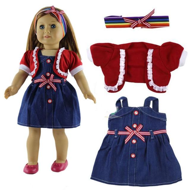 Heißer 3in 1 Satz American Girl Puppe Kleid von Red Bluse + Denim ...