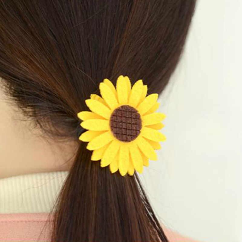 2019 Hot น่ารักดอกทานตะวันผมวงยืดหยุ่นผมคลิป Headwear เด็กอุปกรณ์เสริมผมสาวดอกไม้ Hairpin ยาง