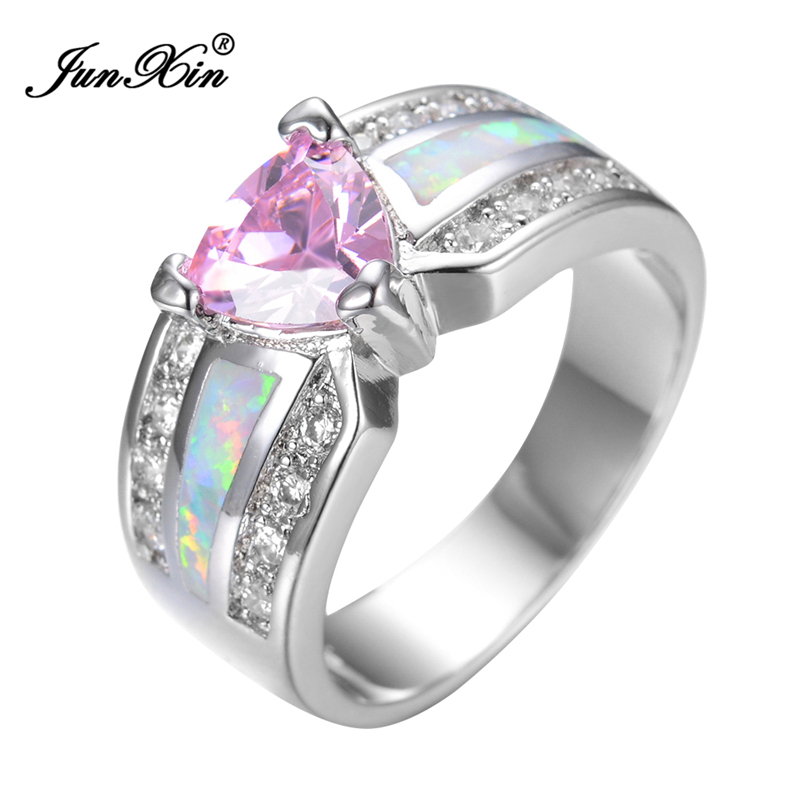 JUNXIN Elegant Fashion Pink Heart Female Opal Ring White Gold Filled Jewelry Vintage Party