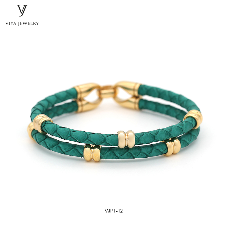 AAA Grade Genuine Lake Green Python Leather & Gold Color Stainless Steel Clasp Men Bracelet Luxury Customize Men Python Bracelet opk biker stainless steel men bracelet