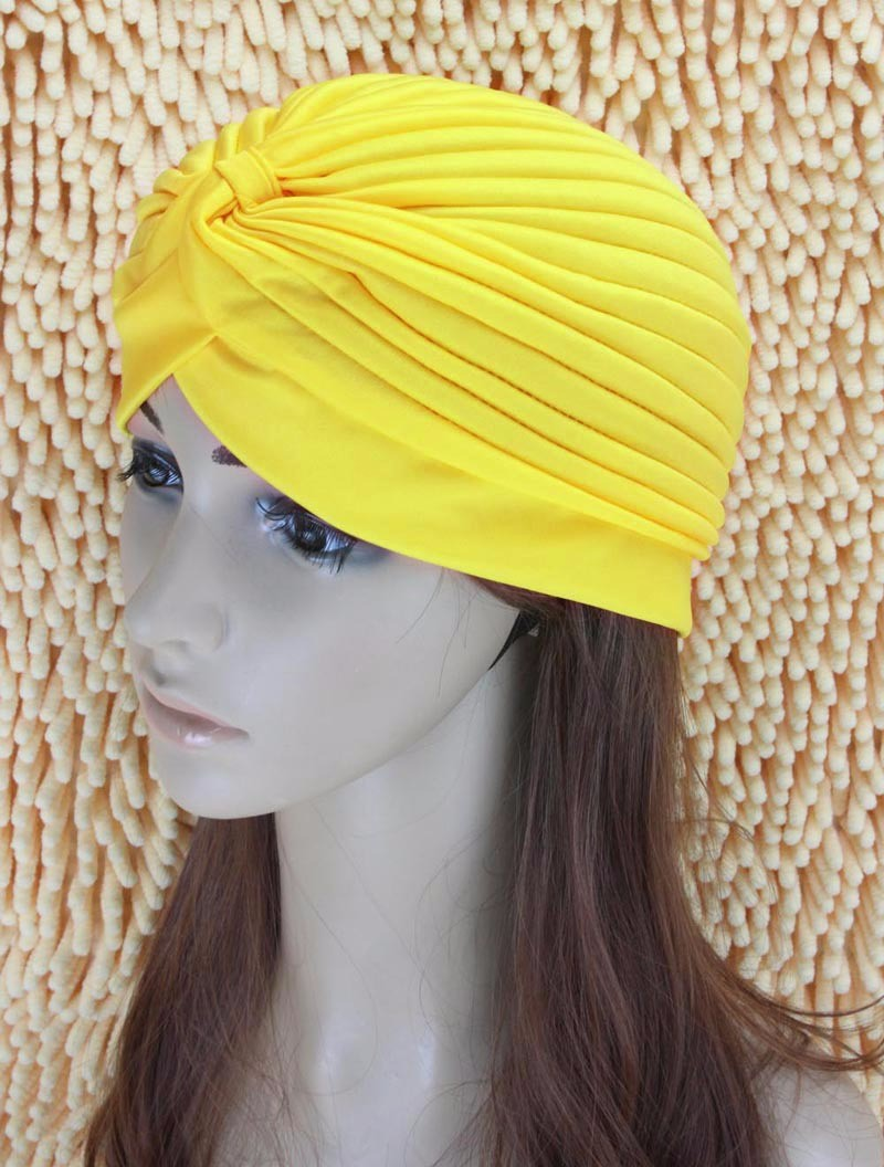 2016 New Fashion Women Turban Hat Bohemia 21 Solid Color Fold Beanies Female Simple Autumn Bonnet Indian Turban Hats For Women (12)
