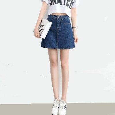 ... Dames Taille Haute Mini Jupe Feminino Vintage Avant Rangée Boucle  Cowboy Jeans jupes. Click here to Buy Now!! 2018 Femmes D b09e5547242