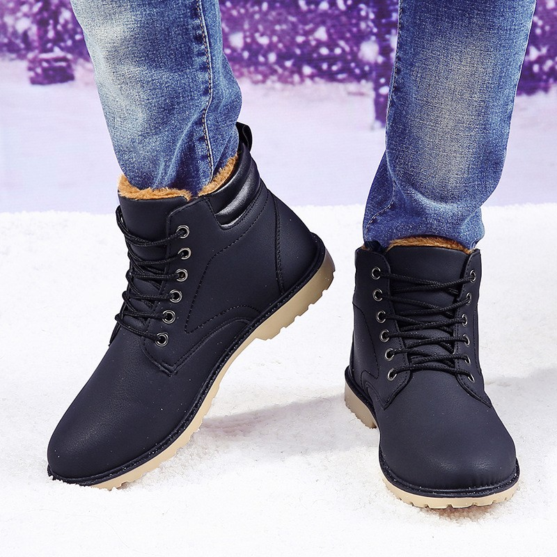 YWEEN Men Leather Boots Autumn Winter High Style Waterproof Fashion Outdoor Work Shoes Casual Martin Boot For Man Hot Sale 39