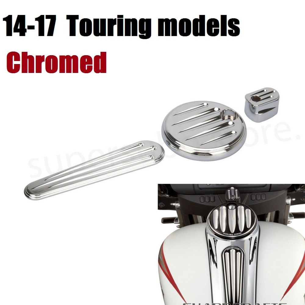 Motorcycle CNC Chrome Dash cover chromed Pack Ignition Fuel Door Dash For Harley Road Glide Touring 2014-2017Motorcycle CNC Chrome Dash cover chromed Pack Ignition Fuel Door Dash For Harley Road Glide Touring 2014-2017