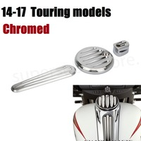 Motorcycle CNC Chrome Dash cover chromed Pack Ignition Fuel Door Dash For Harley Road Glide Touring 2014 2017