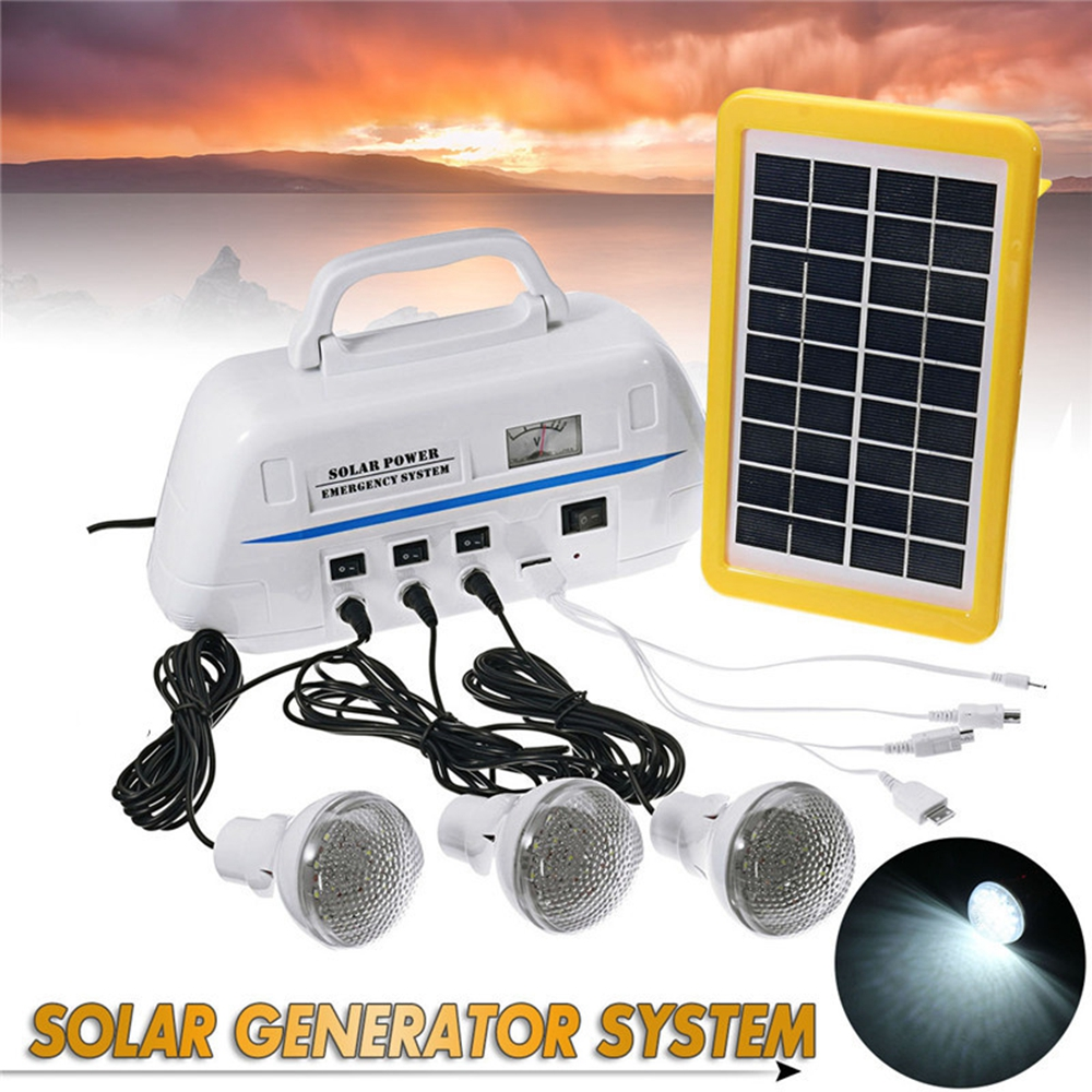 цена на Mising Solar Powered Outdoor Camping Portable Solar Generator System with LED Light Bulbs Emergency Light Hand Hiking Lighting