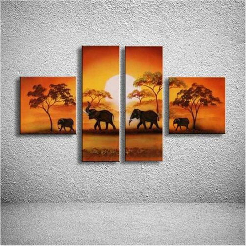 4 Panel Wall Art Pictures Hand Painted Natural Scenery Landscape Oil Painting African Elephant Canvas Paintings Home Decoration