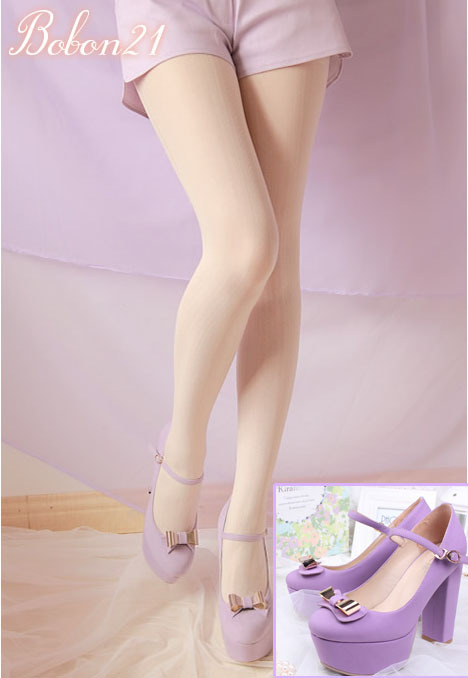 Princess sweet lolita shoes BOBON21 model with the same Purple high heeled shoes With waterproof platform